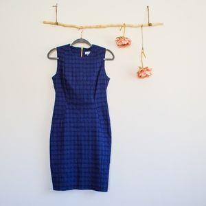 Calvin Klein Check Stretchy Navy Blue Work Dress